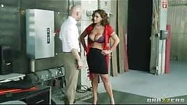 Brunette masturbates with a vibrator and a machine
